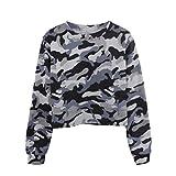 Luckycat Damen Langarm Camouflage Patchwork O Hals Sweatshirt beiläufige Blusen Sweatshirt Pullover Oberteile Mode 2018