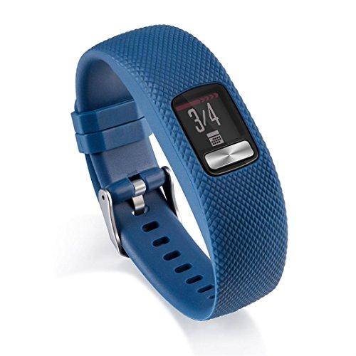 der, Silikon-Ersatz-Handgelenk-Band-Bügel mit Metallschnalle für Garmin vivofit 4 | Watchband Replacement | Ersatz Armband (Dunkelblau (205mm)) ()