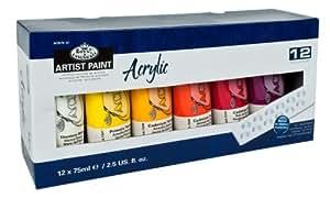 Royal & Langnickel ACR75-12 Assortiment de 12 Tubes de peinture acrylique 12 x 75 ml