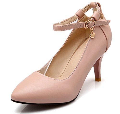 OALEEN Escarpins Femme Bout Pointu Bride Cheville Soirée Travail Chaussures Talon Hauts Aiguille Rose sucré