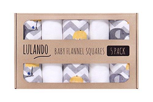 LULANDO Stoffwindeln und Moltontücher 70x80cm (5er Set). Waschbare Windeln und Spucktücher für Ihr Baby, Farbe: Elefanten gelb