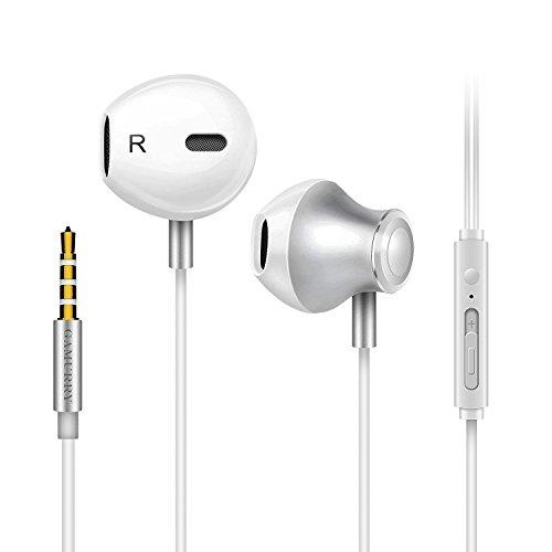 Auriculares con micrófono, Sistema de cancelación de Ruido y Sonido Envolvente. Compatibles con iOS Sistema,Samsung,Android y PC (Blanco)