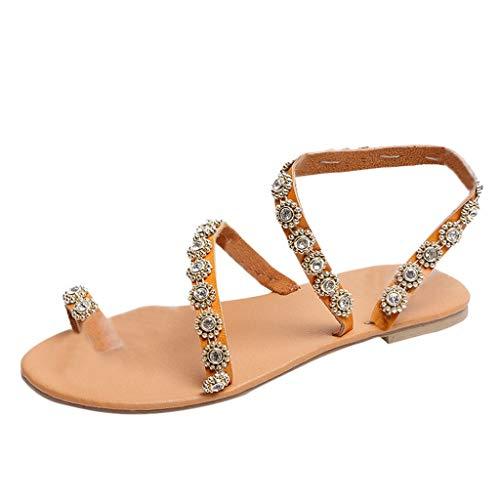 bd8bb3c442 BaZhaHei Sommer Elegante Boho Vintage Damen Frauen Mode Perlen Sandalen  Sommer Schuhe Party Sexy Perle Flache Unterseite Clip Toe Flip Flop  Zehentrenner ...