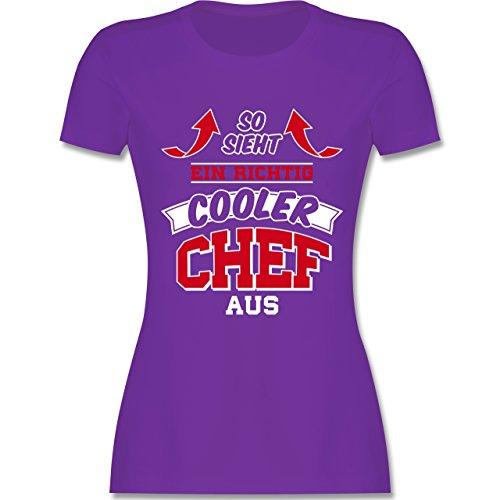 Sonstige Berufe - So Sieht ein Richtig Cooler Chef Aus - Damen T-Shirt Rundhals Lila
