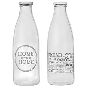 CostMad 2x 1litre bouteilles d'eau rétro vintage en verre Lait Dairy Juice Drink De Squash pour réfrigérateur avec capuchon en métal Couvercle 100% recyclable sans BPA de rangement