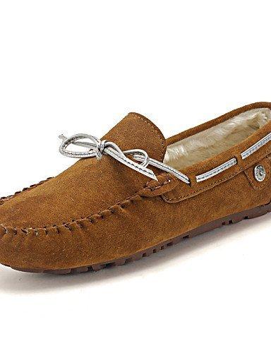 ShangYi Scarpe Donna - Mocassini - Tempo libero / Casual / Scarpe comode - Decolleté con cinturino / Pantofole - Basso - Pelle -Marrone / Grigio Khaki