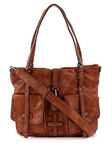 Tamaris Damen Bernadette Shopper, 36x30x12 cm Braun (305 cognac 305)