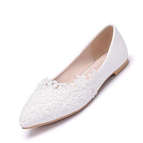 Damen Braut Schuhe Zum Braut Frau Brautjungfer Weiß Spitze Schlüpfen Funkeln Lader Damen Ballett Wohnungen Ballerina Pumps Größe 35-42,White,EUR41/UK9