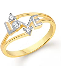 V. K. Jewels Love Gold And Rhodium Plated Ring For Girls- Fr1146G [Vkfr1146G]