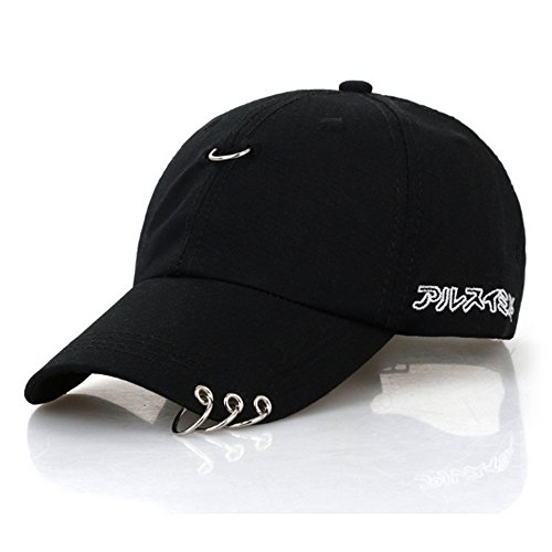 CATOP Cotton Baseball Cap Adjustable Dad Hat Silver Ring Piercing K-Pop Hip Hop Hat Unisex Snapback Embroidery Casual Hats Black (Adjustable Pop)