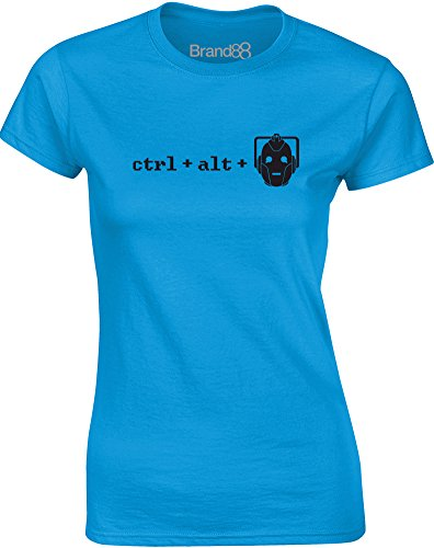 Brand88 - Ctrl + Alt + Del, Mesdames T-shirt imprimé Bleu Saphir/Noir