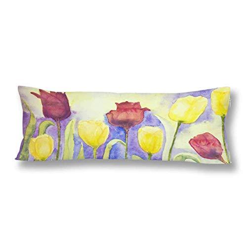 CiCiDi Seitenschläferkissen 5ft (140 x 40 cm) Yellow Red Tulips Lilac Baumwolle Maschinenwäsche mit Reißverschlüssen Mutterschafts- / Lange Kissenbezug -