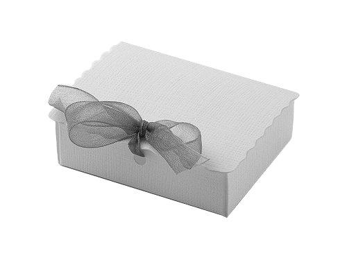 10 Stück Kartonage SCATOLA C/PATELLA Seta weiß, 70x55x22 mm, Geschenkverpackung, Gastgeschenk