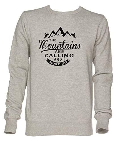 The Mountains Are Calling and I Must Go Unisex Grau Jumper Sweatshirt Herren Damen Größe M | Unisex Jumper Sweatshirt for Men and Women Size M