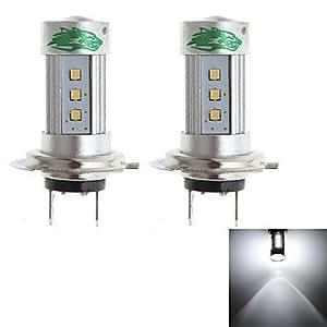EVa zweihnder h7 15w 1450lm 6000-6500k 15xsmd 2323 Ampoule LED lumière blanche pour les phares antibrouillard de voiture (12-24 V, 2 pièces)