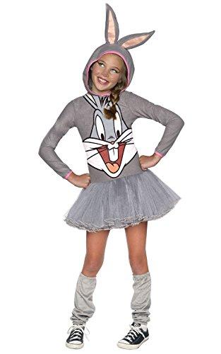 Kostüme Bugs Bunny (Rubie 's Offizielles Girl 's Looney Tunes Warner Bros Bugs Bunny Hoody, Kinder)