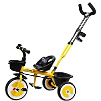 MC-F Kids Tricycle, Adjustable Seat Children 3 Wheel Pedal Bike, with Back Storage and Removable Parent Handle, for 2-6 Years Kids and Toddlers - 80-120 CM,Yellow