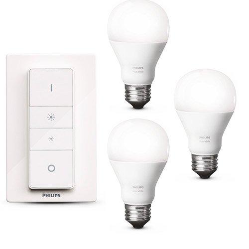 Philips Hue WHITE LED 8,5W E27 Wireless Dimming Kit inkl. Fernbedienung + 2x Erweiterung = 3 Leuchtmittel, app-gesteuert, dimmbar, warmweiß 2700K