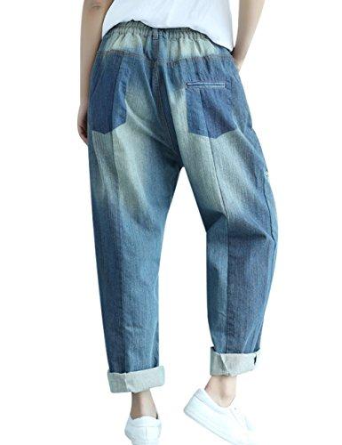 Youlee Femmes Été Taille elastique Jeans à jambe large Bleu