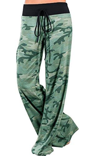 Grün Gerades Bein Hose (Angashion Damen Blumenmuster Weite Bein Lange Hose Grün 3XL)