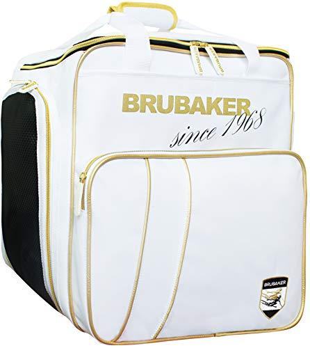 Brubaker Super Grenoble Skischuhtasche Helmtasche Rucksack-Tragesystem mit Schuhfach - Weiß Gold