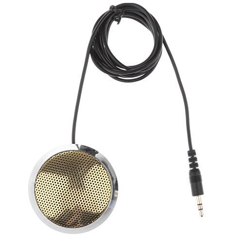 sharprepublic 3.5 Mm Kondensator Mikrofon, Runde Metall Gehäuse, Desktop Mikrofon Für Online Meetings, Geschäftskonferenzen, Chat, Spiele Und Mehr. - Silber + Golden -