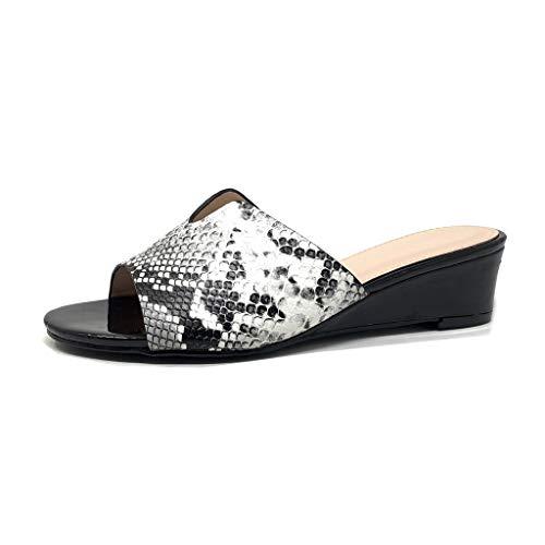 Angkorly - Damen Schuhe Mule Flip-Flops - Slip-On - Step - Python schlangeneffekt Keilabsatz 5 cm - Schwarz LC-711 T 38 Python Slip-on