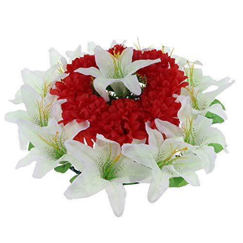 Homyl Blumenkranz Grabblumen Grabgesteck Grabschmuck, Chrysantheme und Lily Design, für Beerdigung Memorial und Tribute - Rot-Weiss (Grab Blumen Kranz)