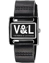 V&L VL071601 - Reloj con correa de piel para mujer, color negro / gris