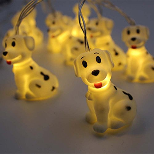 (Leisurely Lazy 1.5 m/4.9 ft 10 Lights Battery Powered Cute Animal Spotty Dog Shape LED String Lights for Indoor/Outdoor Halloween Christmas Thanksgiving Home Party Children Kids Bedroom Decoration)