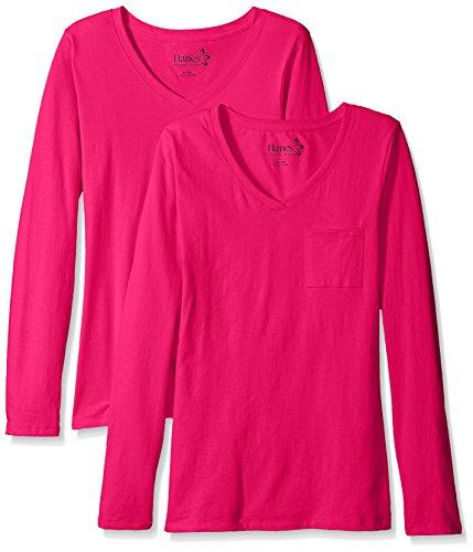 Hanes Women's Long Sleeve Jersey V-Neck Pocket Tee (Pack of 2) -