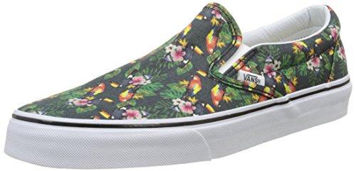 Vans Classic Slip-On, Unisex-Erwachsene Sneakers, Mehrfarbig (Chambray/Parrot/True White), 39 EU Vans Slip-on White