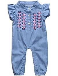 780510db4a03 Turkey for 0-24 Months, Newborn Infant Baby Girls Floral Embroidery Romper  Denim Jumpsuit