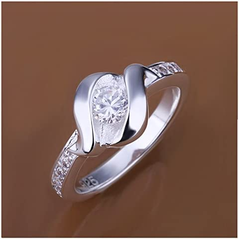 HMILYDYK joyas para mujer chapado en plata de ley 925Swarovski de moda anillo de tamaño perfecto