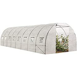 IDMarket - Grande Serre de Jardin Tunnel maraîchère Pro galvanisée 24m² 8x3x2m Blanche