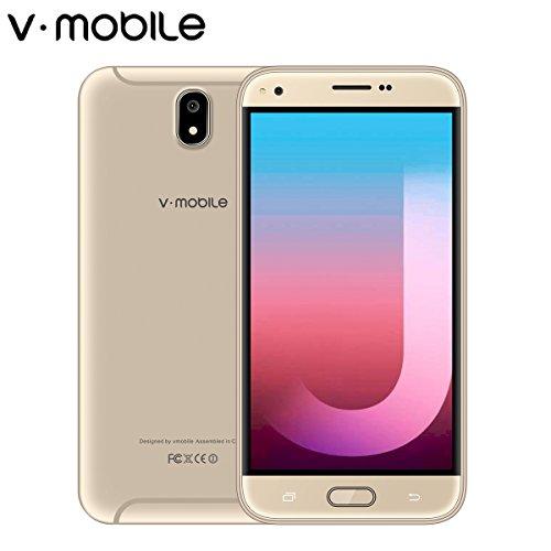 V MOBILE J5 Smartphone Pas Cher 4G Unlocked Smartphone 5,5 Pouces HD IPS Téléphone Portable Débloqué (Android 7,0 8 Go ROM 2,0+5,0MP Caméra 2800mAh Batterie Dual SIM) WIFI Sans Fil GPS Étanche Tactile Or
