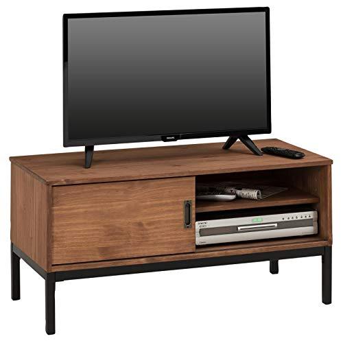 IDIMEX Lowboard TV Möbel Selma, Fernsehtisch Fernsehschrank im Industrial Design mit 1 Schiebetür 1 offenes Fach, Kiefer massiv, Dunkelbraun