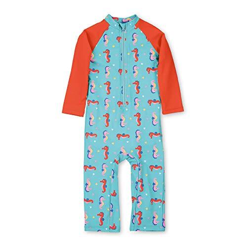 Sterntaler Kinder Mädchen Schwimmanzug mit Windeleinsatz, Lange Arme und Beine, UV-Schutz 50+, Alter: 9-12 Monate, Größe: 80, Meeresblau