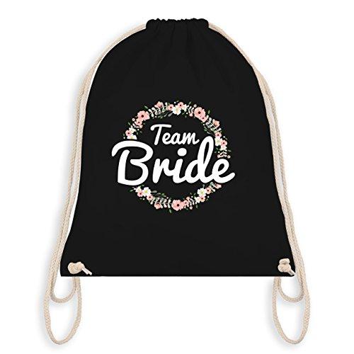 Shirtracer JGA Junggesellinnenabschied - Team Bride Blumenkranz - Unisize - Schwarz - WM110 - Turnbeutel I Gym Bag