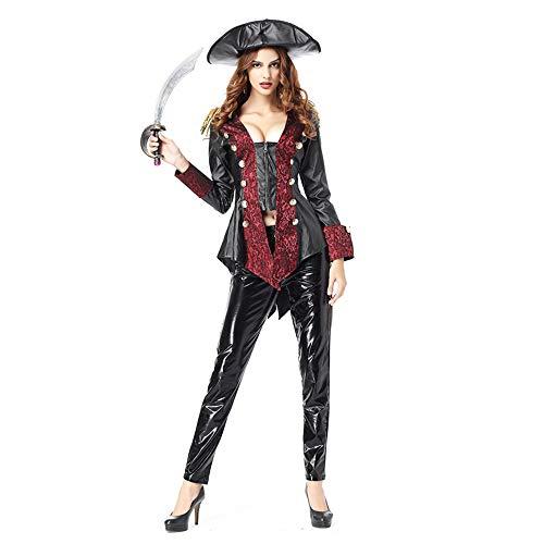 Frauen Halloween Kostüm Damen Sexy Erwachsene Overall Karibisches Piraten Kostüm Aus Leder (Machen Sie Eine Piraten Kostüm Frauen)