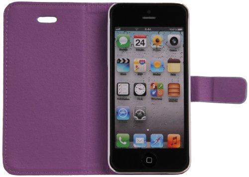 DONZO Handyhülle Flip Cover Case für das Apple iPhone 5 / 5S in Blau Flip Structure als Etui seitlich aufklappbar im Book-Style Wallet Carbon-Style Violett