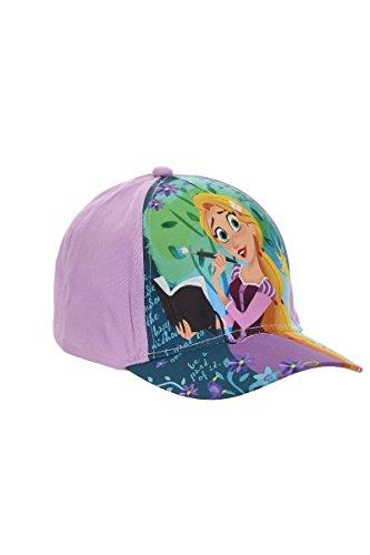 Disney cappellino, berretto da baseball, berretto da bambino, ragazza, rapunzel, 100% cotone con velcro regolabile (54, porpora)