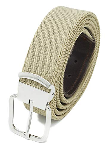 Xeira  Hochwertiger Elastik- Stoffgürtel Uni Beige mit Braunen Leder Endstück