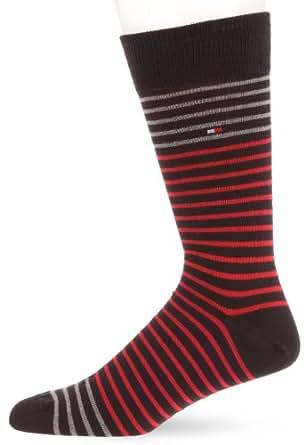 Tommy Hilfiger Stripe - Chaussettes Habillées - Lot de 2 - Rayé - Homme - Rouge (Rouge/Bleu) - 43-46 EU