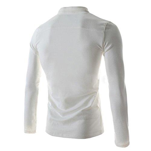 Poloshirt Herren Langarm Hemden Polo Kentkragen mit Brusttasche Business Casual Elegante Shirts Herrenmode Weiß