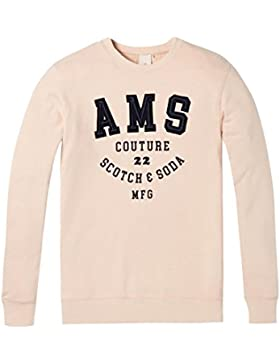 Scotch & Soda Classic Crewneck Sweat with Embroidered Logo Chest Artwork, Sudadera para Hombre