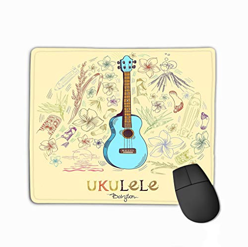 Mouse Pad Ukulele Baryton Round Shape Pattern Hawaiian Guitar Engraved Style Blue Center Composition Elements Around Rectangle Rubber Mousepad 11.81 X 9.84 Inch