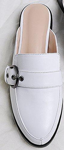 Calaier Femme Catogether 2.5CM Bloc Glisser Sur Mules et sabots Chaussures Blanc