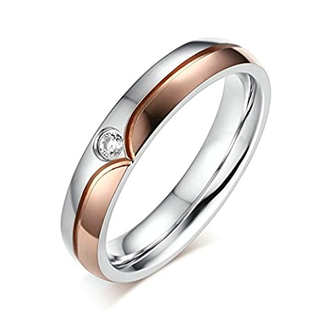 Bishilin Rose Gold Plated Zirconia Puzzle Hearts 4MM Wedding Rings And Bands For Women Size L 1/2