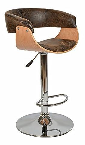 1x Design Club Barhocker Barstuhl Küchen Esszimmer Stuhl Eichenfurnier Sitz in Braun Kunstleder Holz NEU